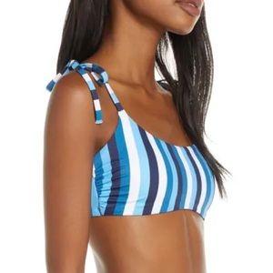 Chelsea28 Blue Striped Easy Retro Bikini Top